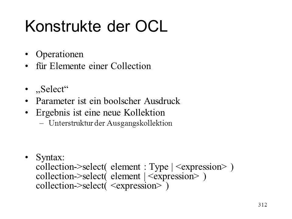 """Konstrukte der OCL Operationen für Elemente einer Collection """"Select"""