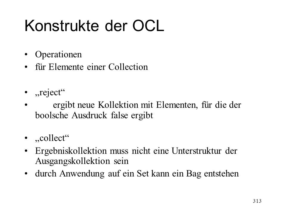 "Konstrukte der OCL Operationen für Elemente einer Collection ""reject"