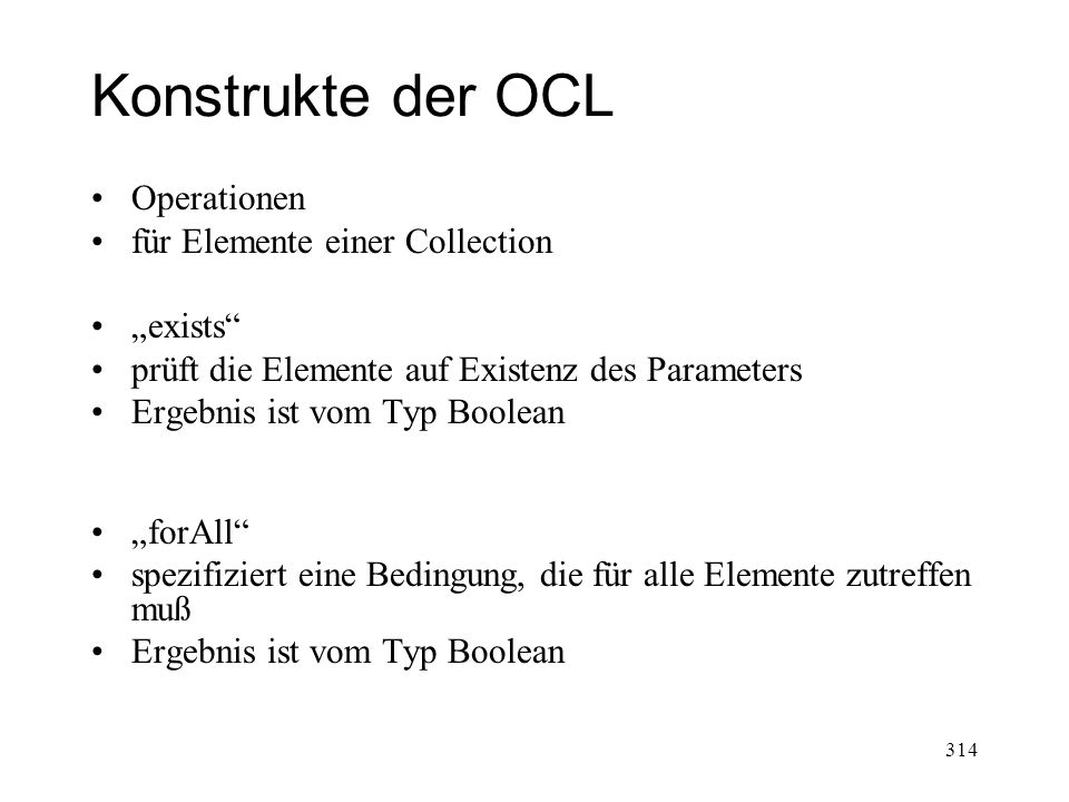 "Konstrukte der OCL Operationen für Elemente einer Collection ""exists"