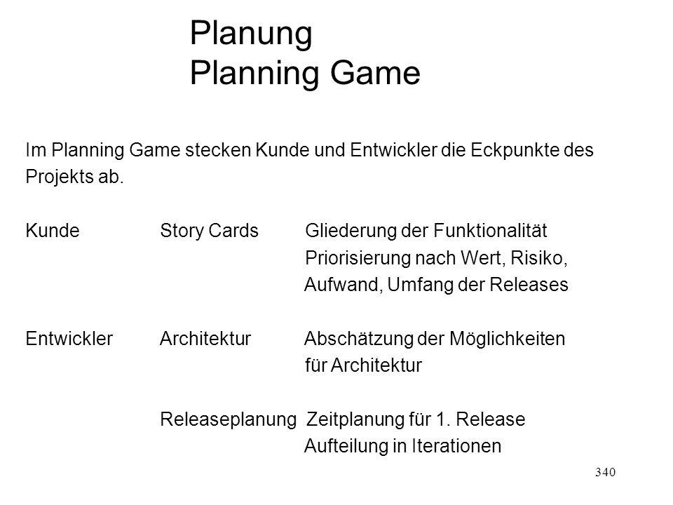Planung Planning Game. Im Planning Game stecken Kunde und Entwickler die Eckpunkte des. Projekts ab.