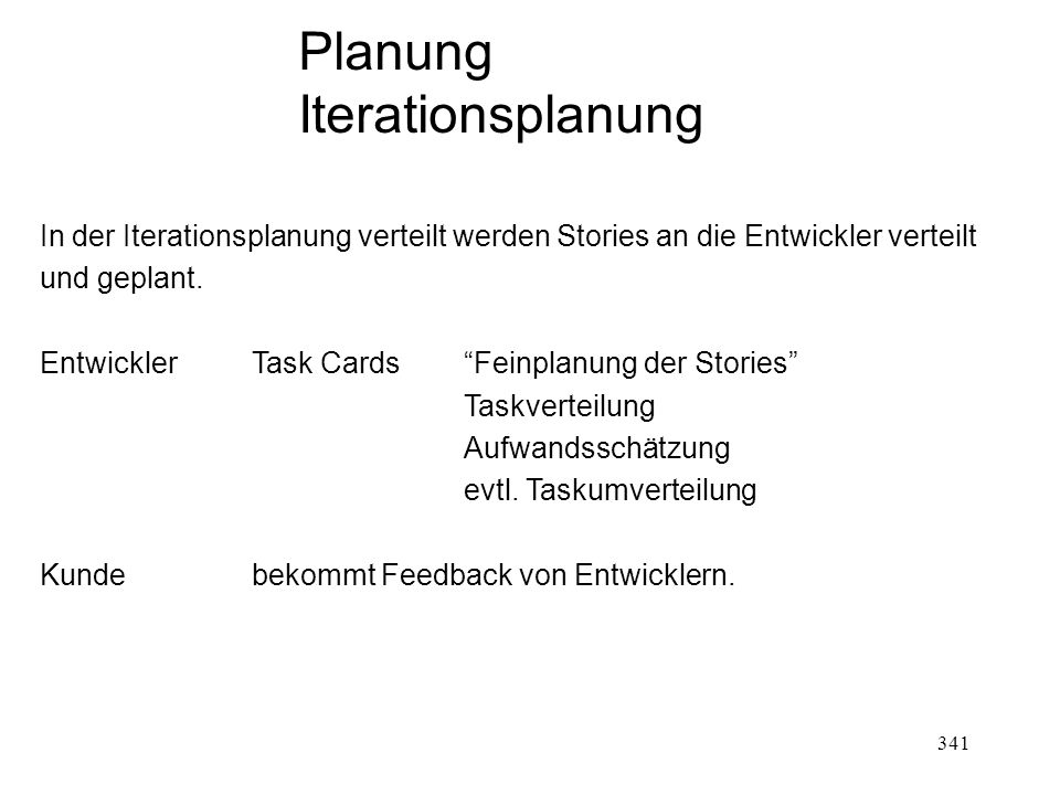 Planung Iterationsplanung