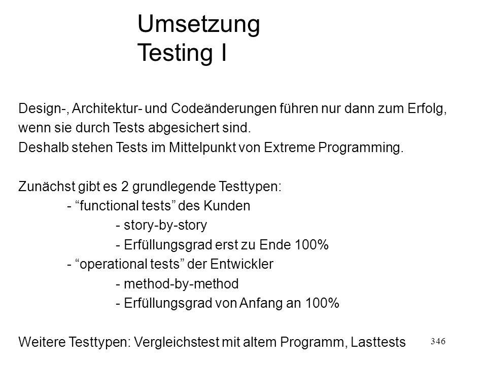 Umsetzung Testing I. Design-, Architektur- und Codeänderungen führen nur dann zum Erfolg, wenn sie durch Tests abgesichert sind.