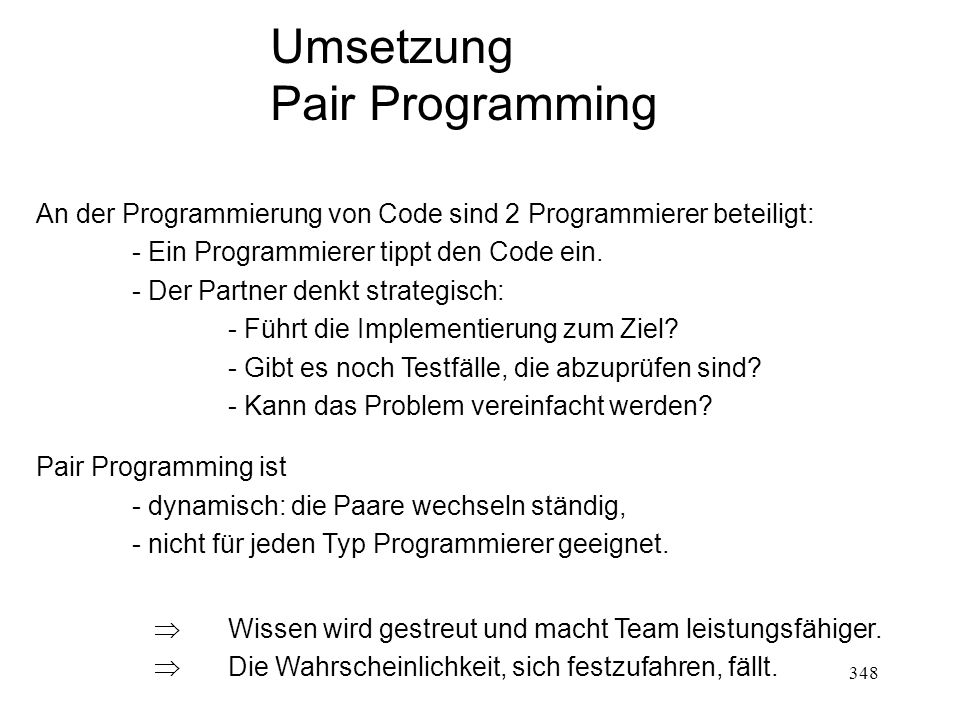 Umsetzung Pair Programming