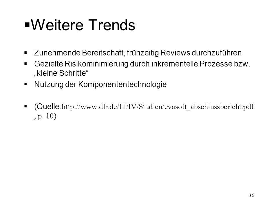 Weitere Trends Zunehmende Bereitschaft, frühzeitig Reviews durchzuführen.