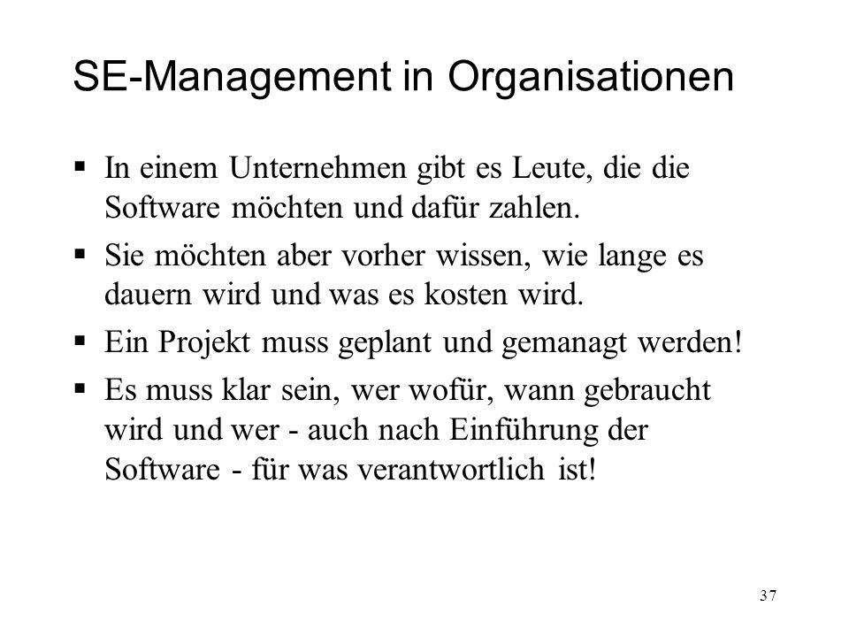 SE-Management in Organisationen