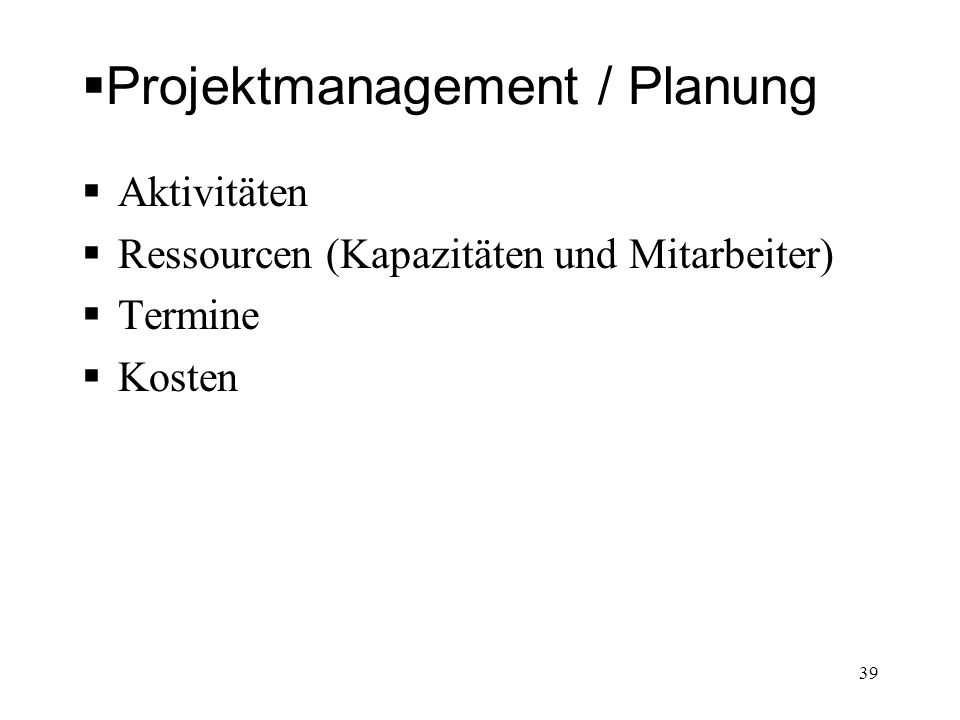 Projektmanagement / Planung