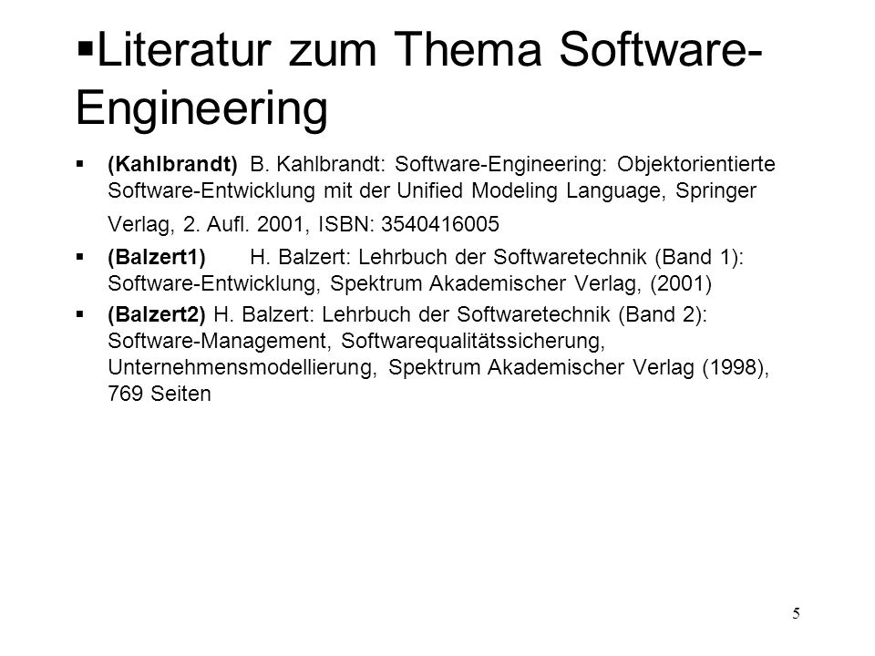 Literatur zum Thema Software-Engineering