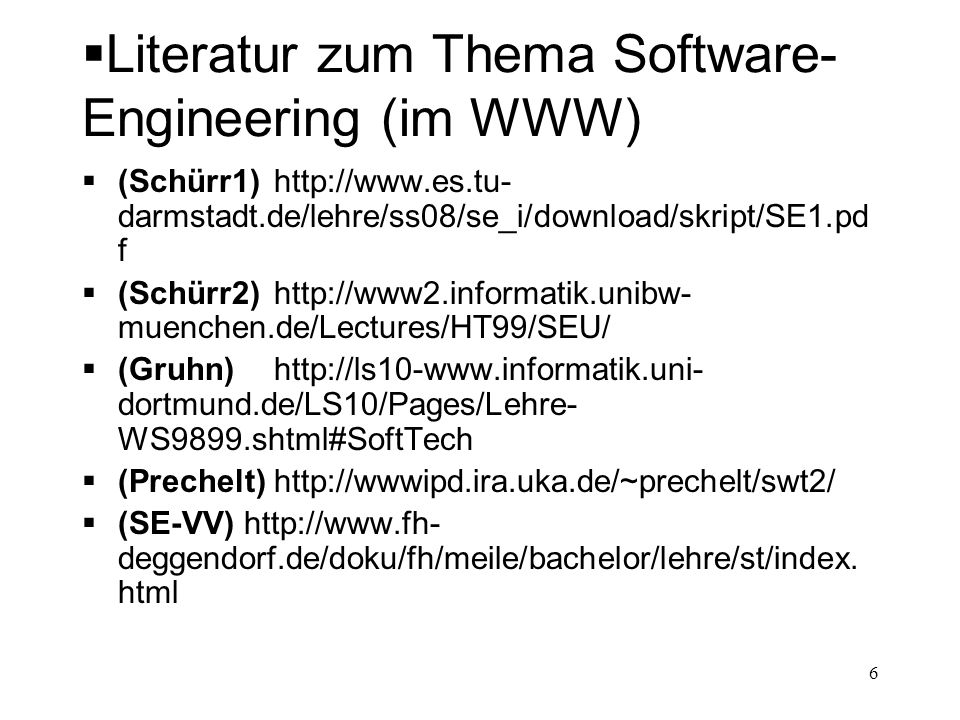 Literatur zum Thema Software-Engineering (im WWW)