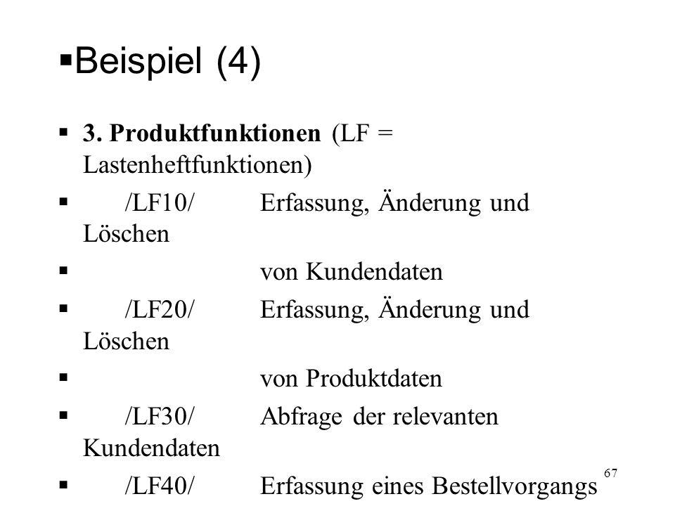 Beispiel (4) 3. Produktfunktionen (LF = Lastenheftfunktionen)