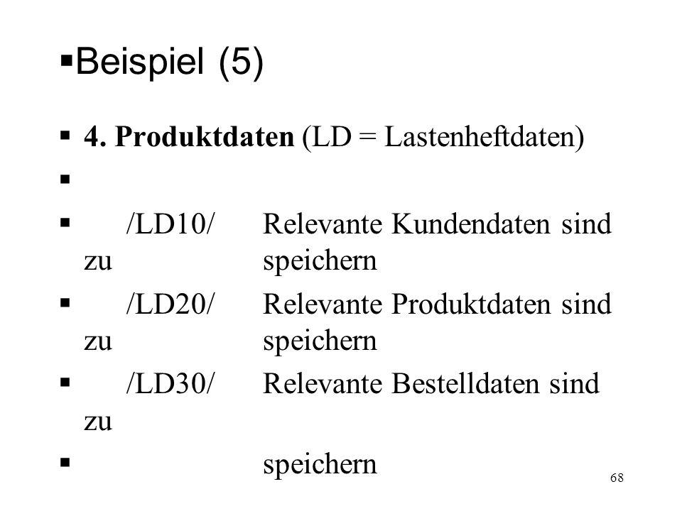 Beispiel (5) 4. Produktdaten (LD = Lastenheftdaten)