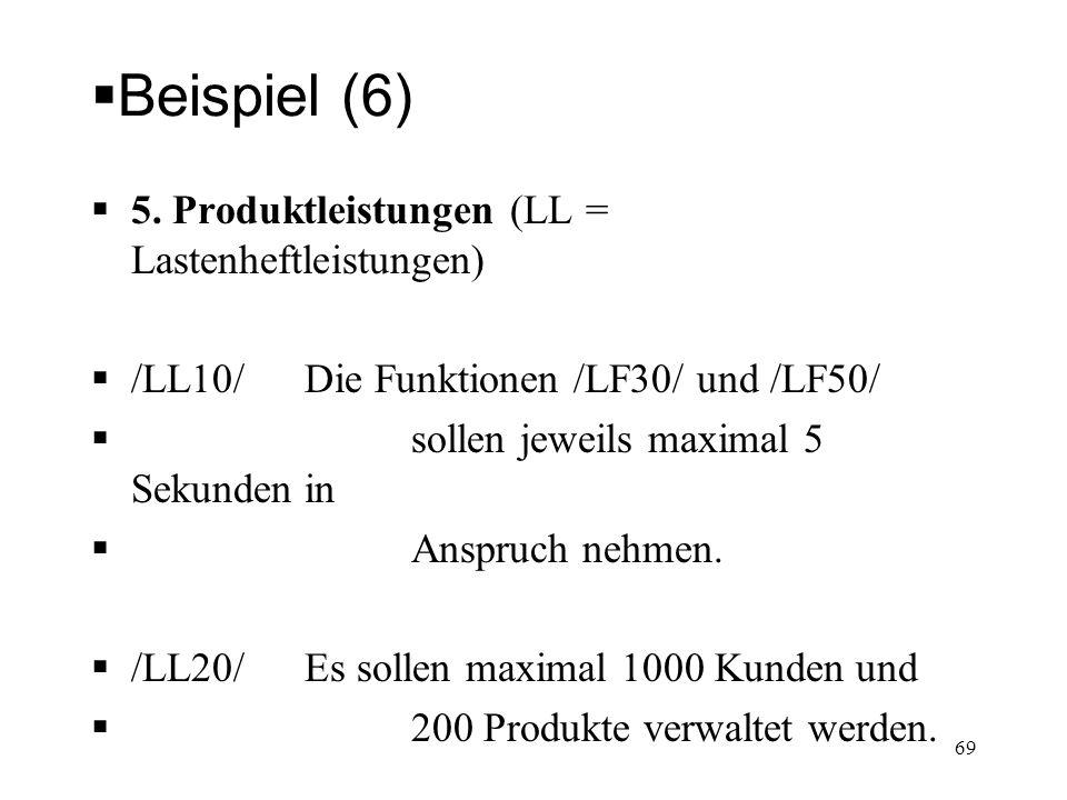Beispiel (6) 5. Produktleistungen (LL = Lastenheftleistungen)