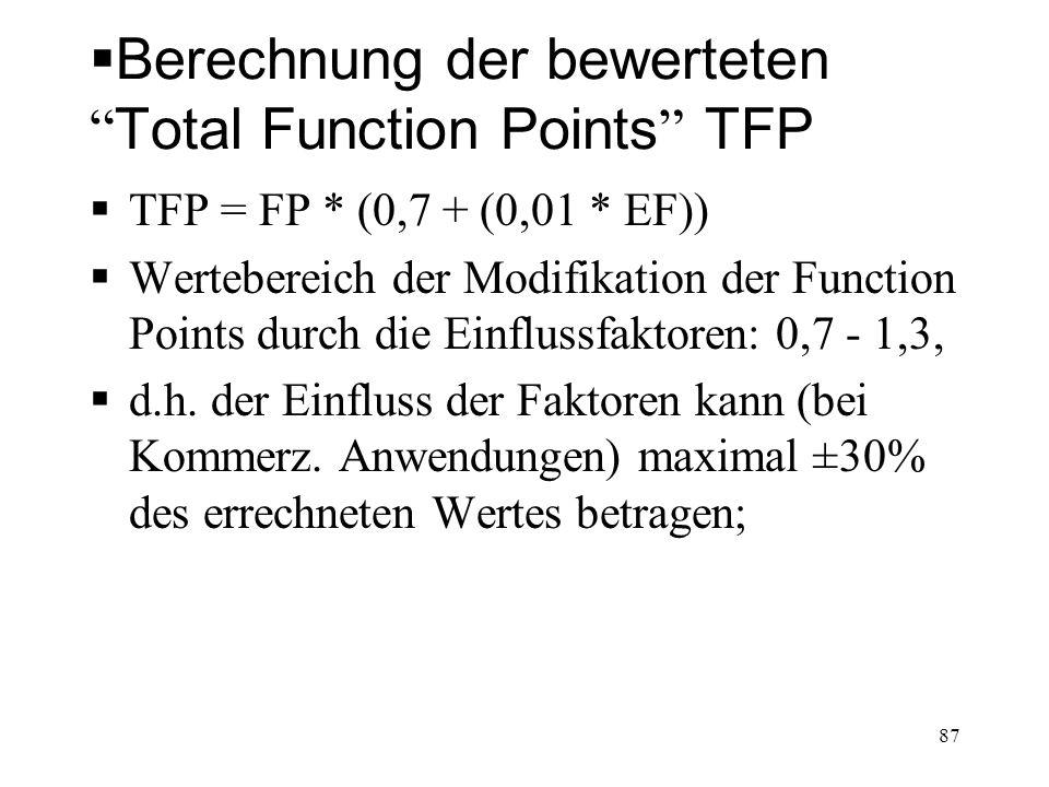 Berechnung der bewerteten Total Function Points TFP