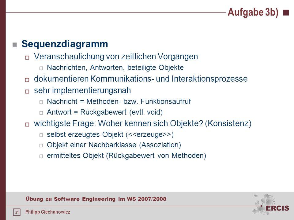 Aufgabe 3b) Sequenzdiagramm Veranschaulichung von zeitlichen Vorgängen