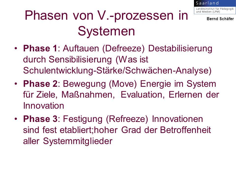 Phasen von V.-prozessen in Systemen