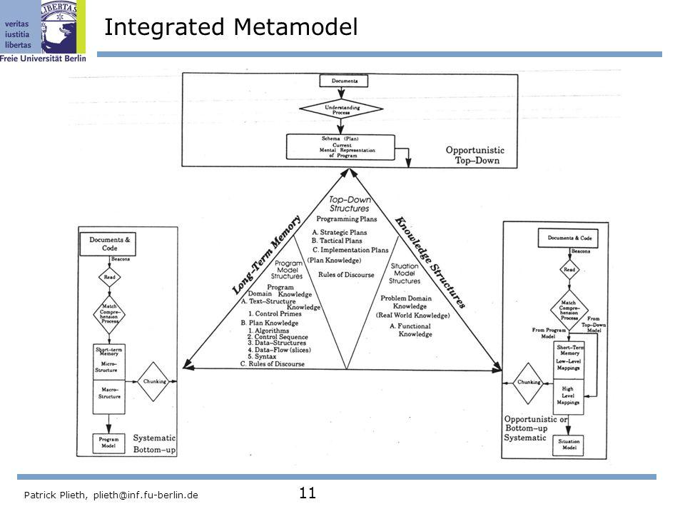 Integrated Metamodel Patrick Plieth, plieth@inf.fu-berlin.de 11