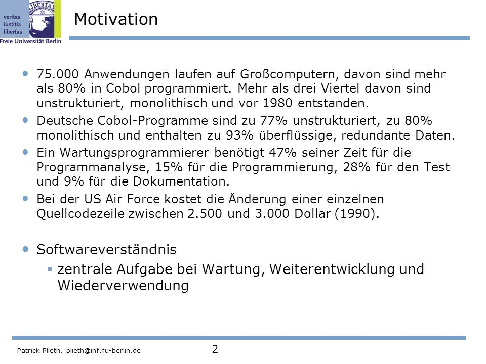 Motivation Softwareverständnis