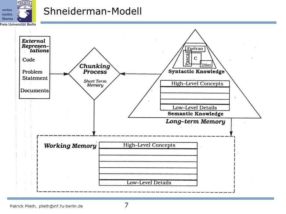 Shneiderman-Modell Patrick Plieth, plieth@inf.fu-berlin.de 7