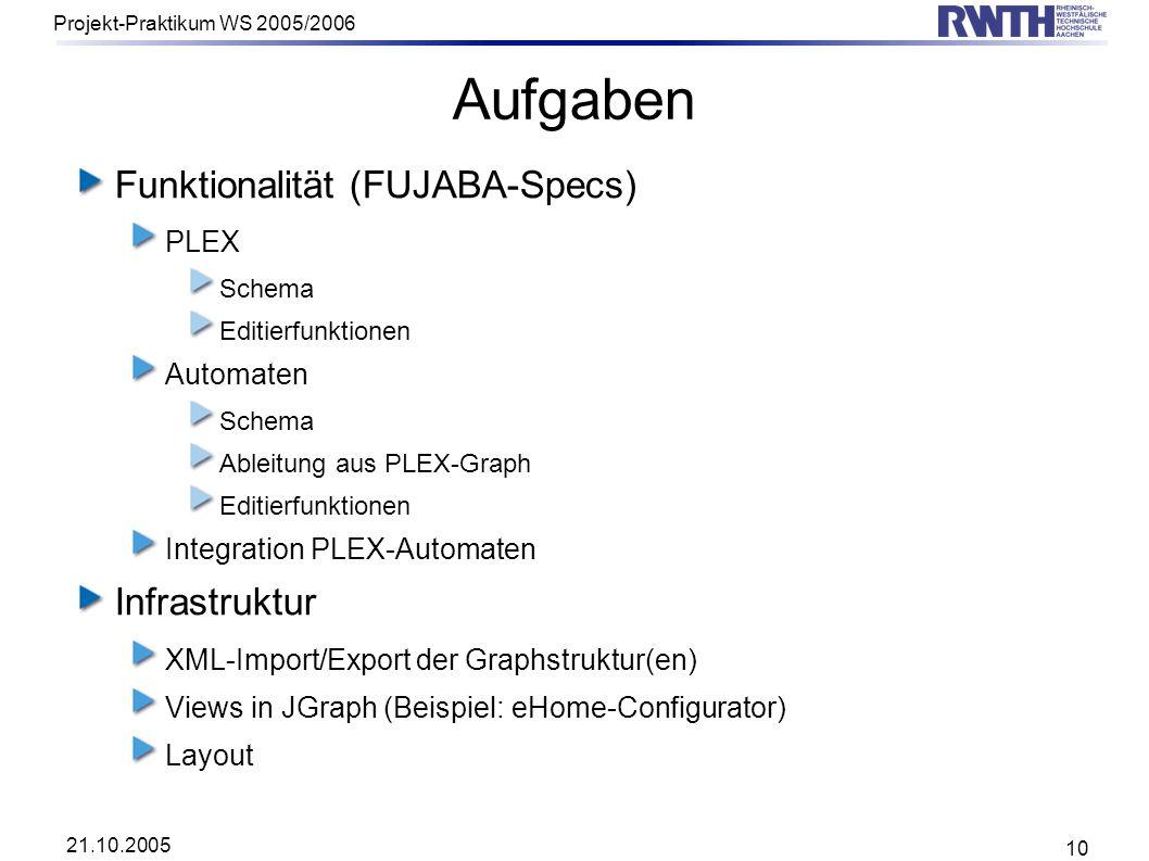 Aufgaben Funktionalität (FUJABA-Specs) Infrastruktur PLEX Automaten