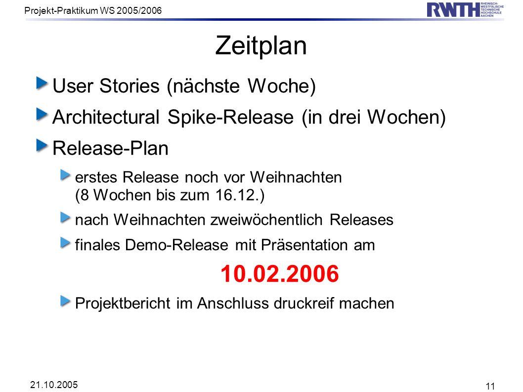 Zeitplan User Stories (nächste Woche)