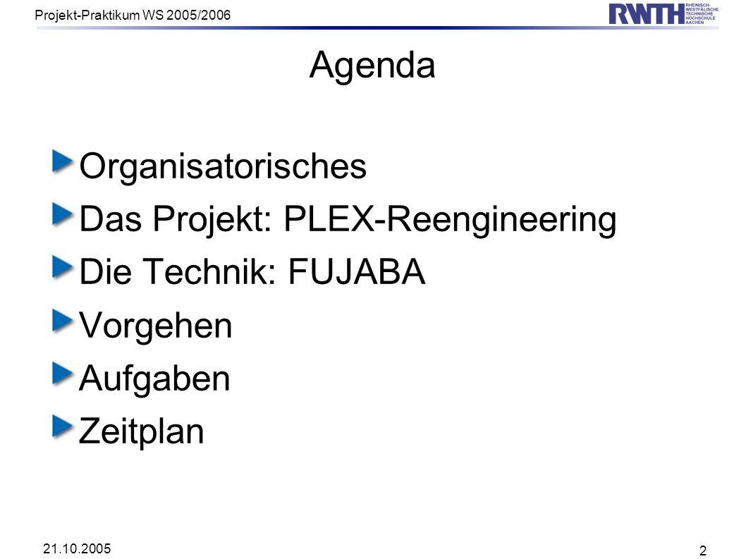 Agenda Organisatorisches Das Projekt: PLEX-Reengineering