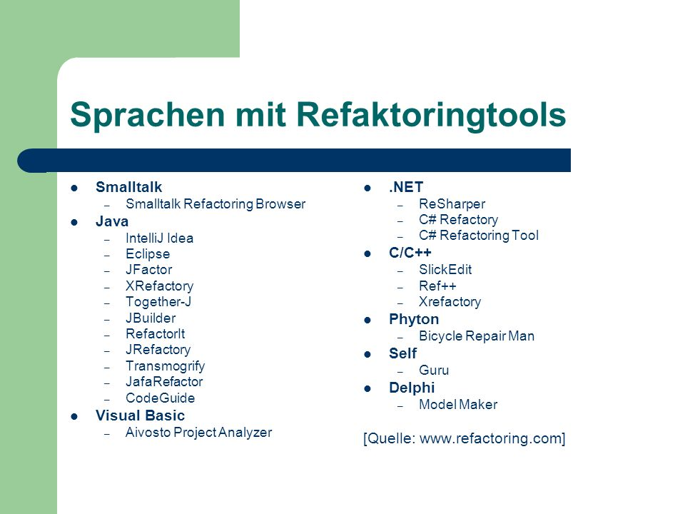 Sprachen mit Refaktoringtools