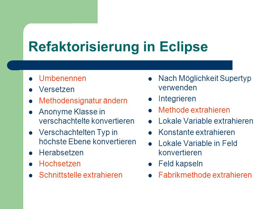Refaktorisierung in Eclipse