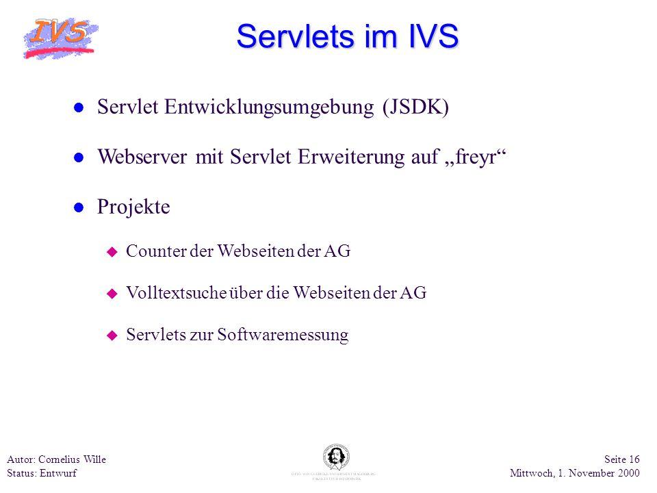 Servlets im IVS Servlet Entwicklungsumgebung (JSDK)