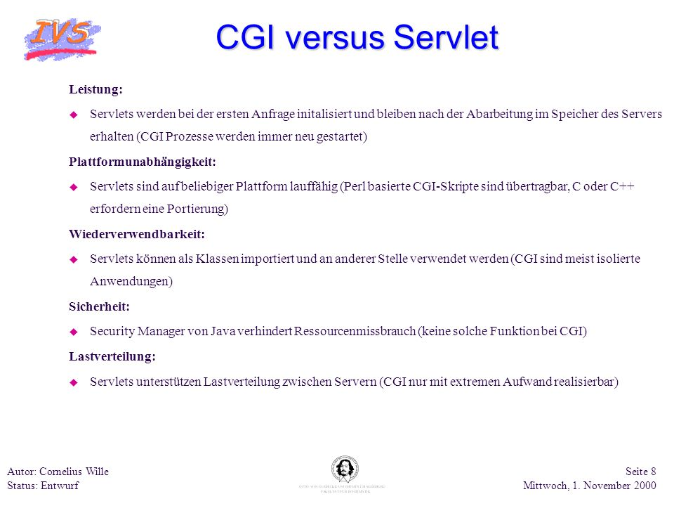 CGI versus Servlet Leistung: