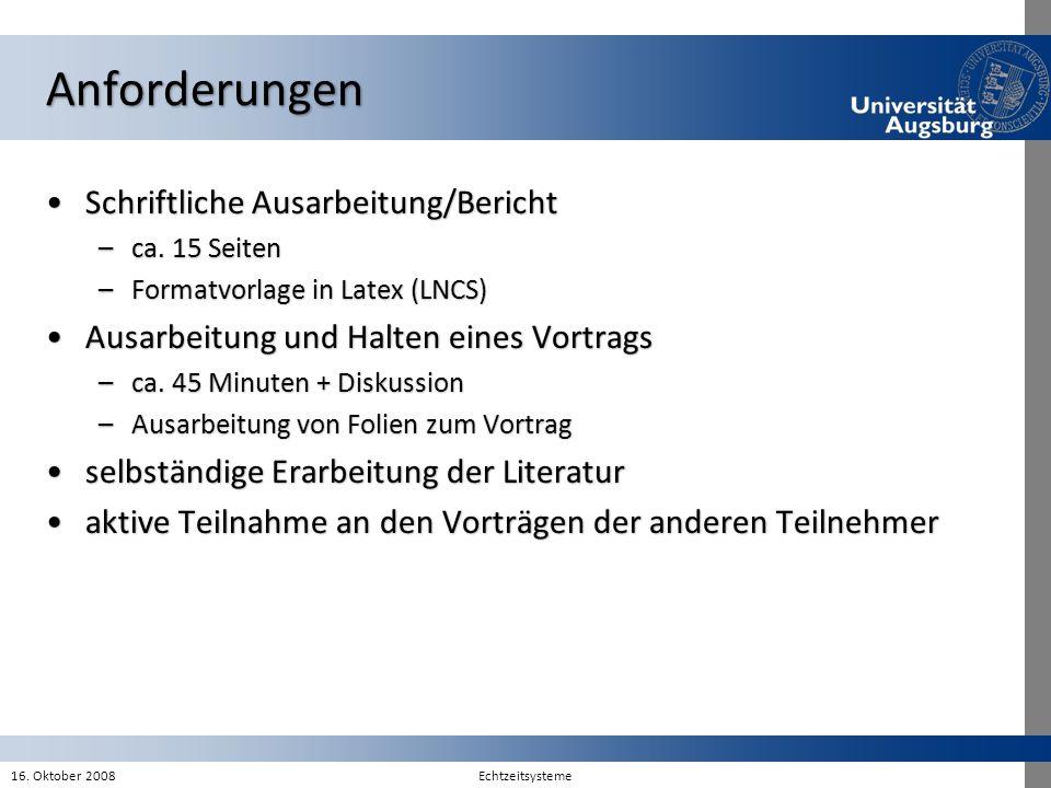 Anforderungen Schriftliche Ausarbeitung/Bericht