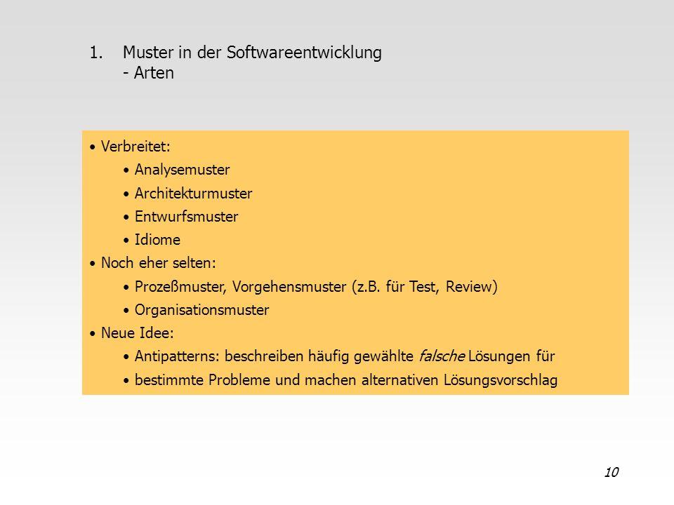 Muster in der Softwareentwicklung - Arten