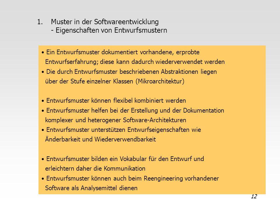 Muster in der Softwareentwicklung - Eigenschaften von Entwurfsmustern