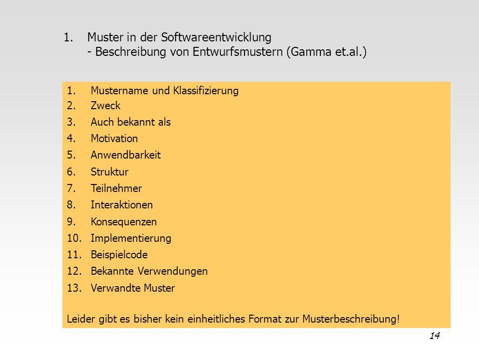 Muster in der Softwareentwicklung - Beschreibung von Entwurfsmustern (Gamma et.al.)