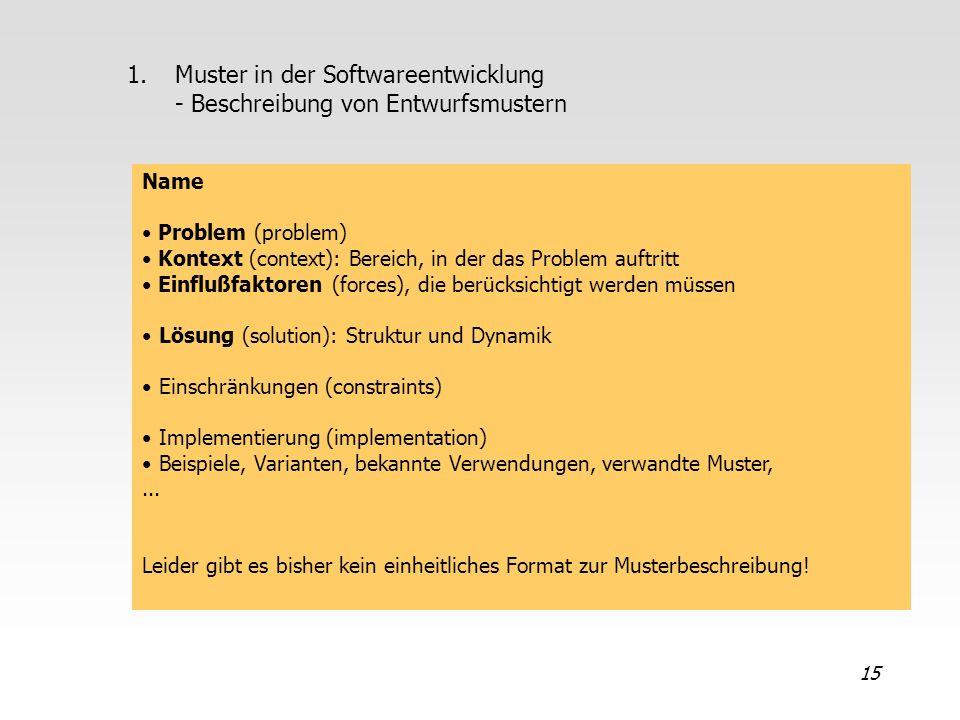 Muster in der Softwareentwicklung - Beschreibung von Entwurfsmustern