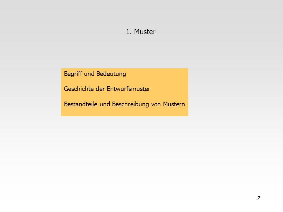 1. Muster Begriff und Bedeutung Geschichte der Entwurfsmuster