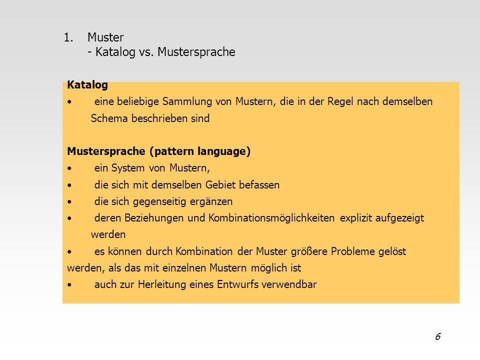 Muster - Katalog vs. Mustersprache