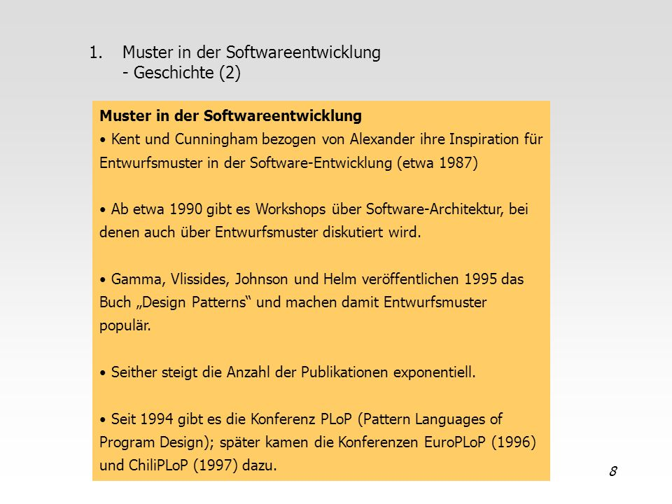 Muster in der Softwareentwicklung - Geschichte (2)