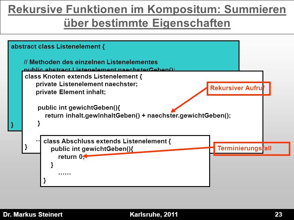 Rekursive Funktionen im Kompositum: Summieren über bestimmte Eigenschaften