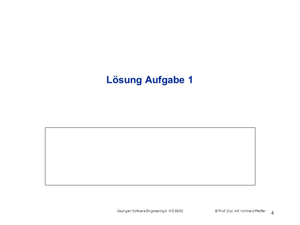 Übungen Software Engineering II WS 99/00