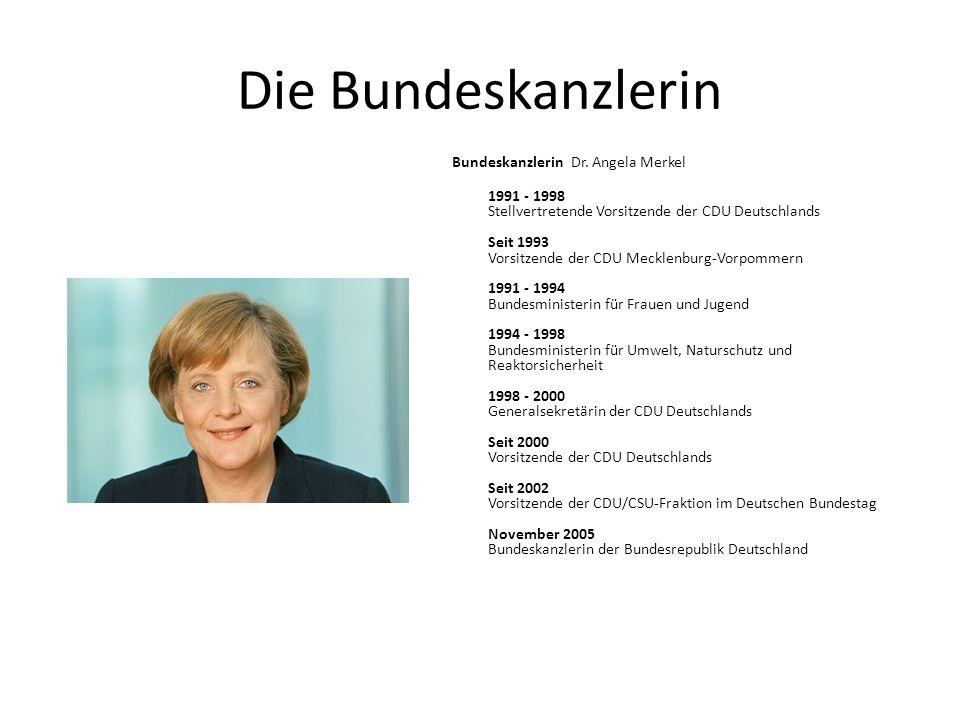 Die Bundeskanzlerin Bundeskanzlerin Dr. Angela Merkel