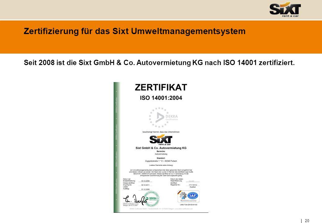 Zertifizierung für das Sixt Umweltmanagementsystem