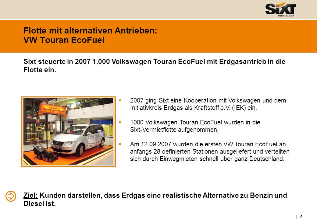 Flotte mit alternativen Antrieben: VW Touran EcoFuel