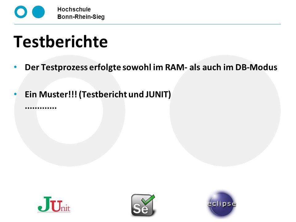 Testberichte Der Testprozess erfolgte sowohl im RAM- als auch im DB-Modus.