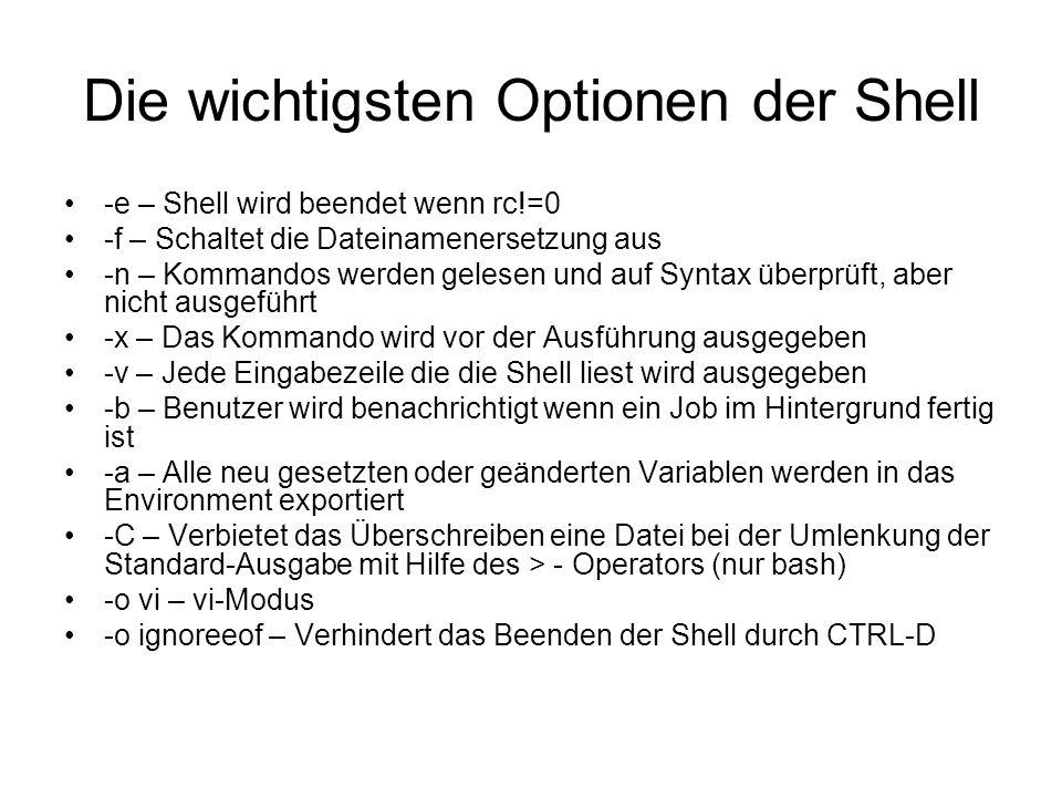 Die wichtigsten Optionen der Shell