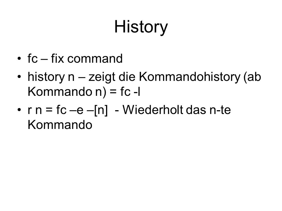 History fc – fix command