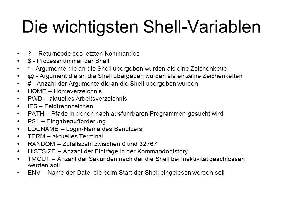 Die wichtigsten Shell-Variablen