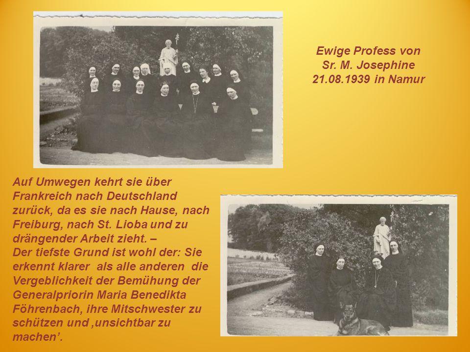 Ewige Profess von Sr. M. Josephine 21.08.1939 in Namur
