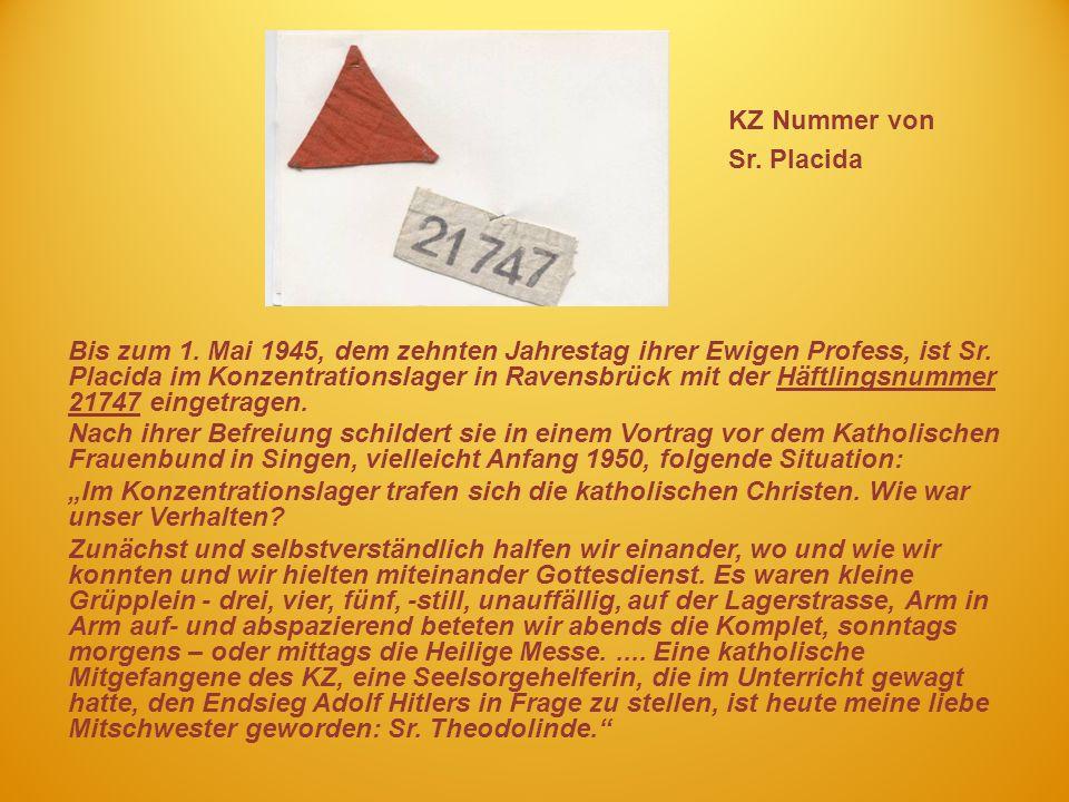 KZ Nummer von Sr. Placida
