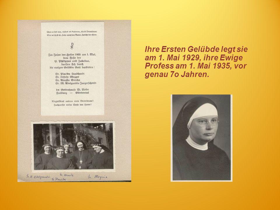 Ihre Ersten Gelübde legt sie am 1. Mai 1929, ihre Ewige Profess am 1