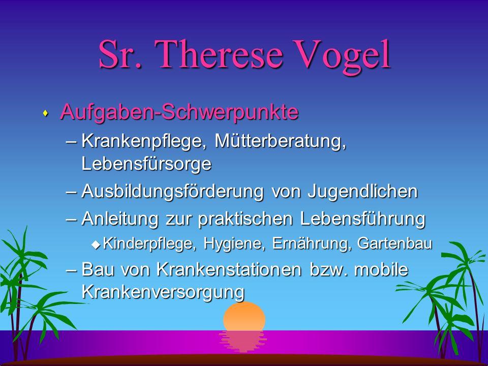 Sr. Therese Vogel Aufgaben-Schwerpunkte