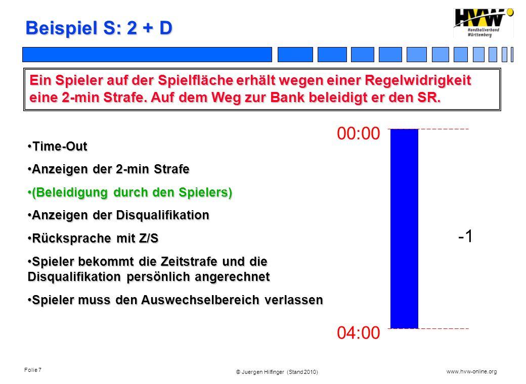 Beispiel S: 2 + DEin Spieler auf der Spielfläche erhält wegen einer Regelwidrigkeit eine 2-min Strafe. Auf dem Weg zur Bank beleidigt er den SR.
